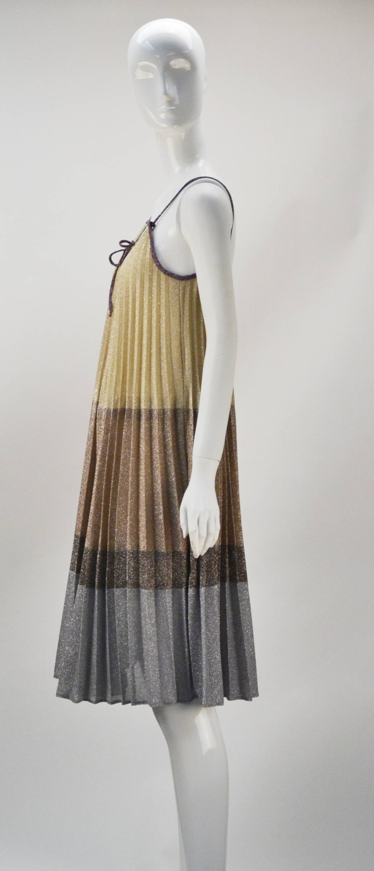 1970s Giorgio Sant' Angelo Knit Metallic Mini dress 2