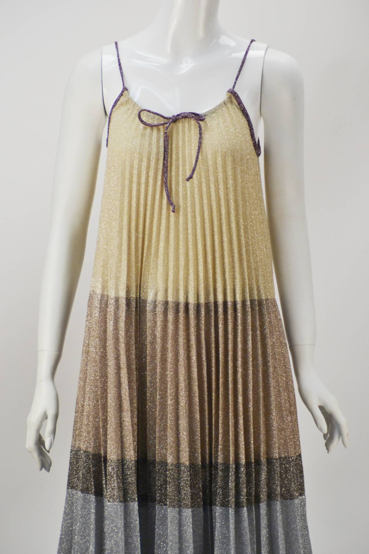 1970s Giorgio Sant' Angelo Knit Metallic Mini dress 5