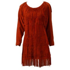 1980s Mario Valentino Leather Red Fringed Dress