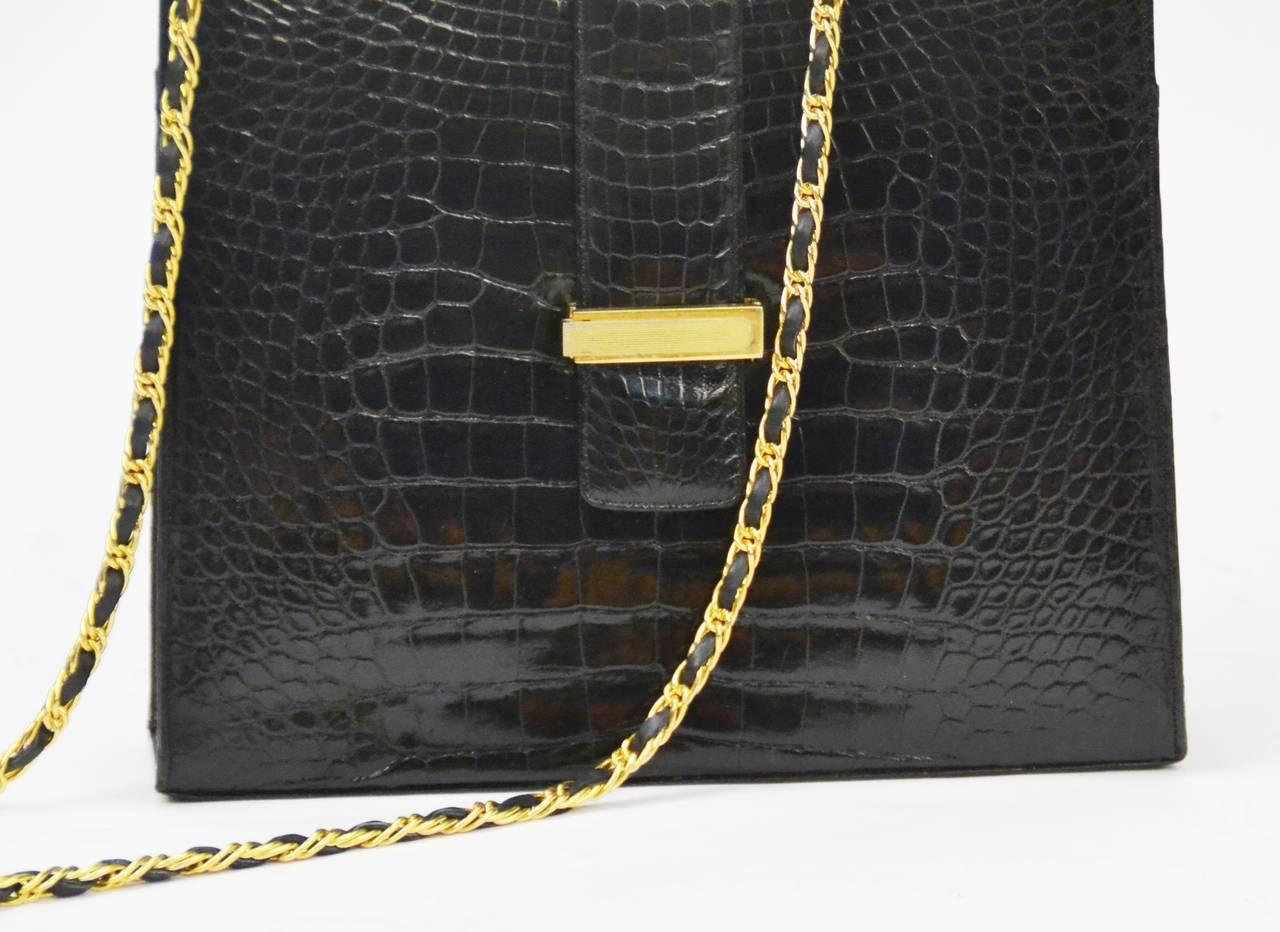 Black Lucille de Paris Alligator Handbag with Gold Tone Metal Hardware For Sale