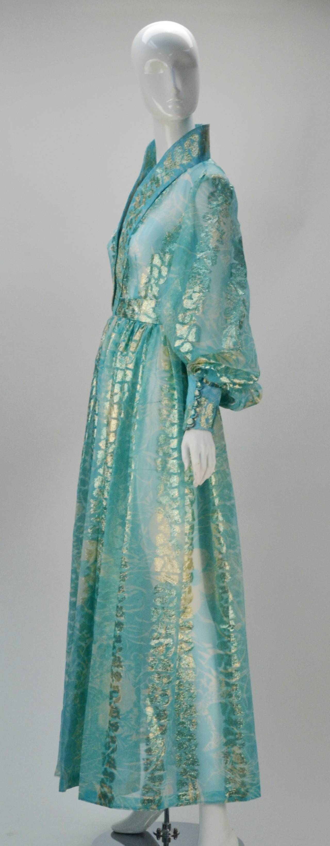 1970s Sheer Light Blue and Gold Metallic Hostess Gown 2