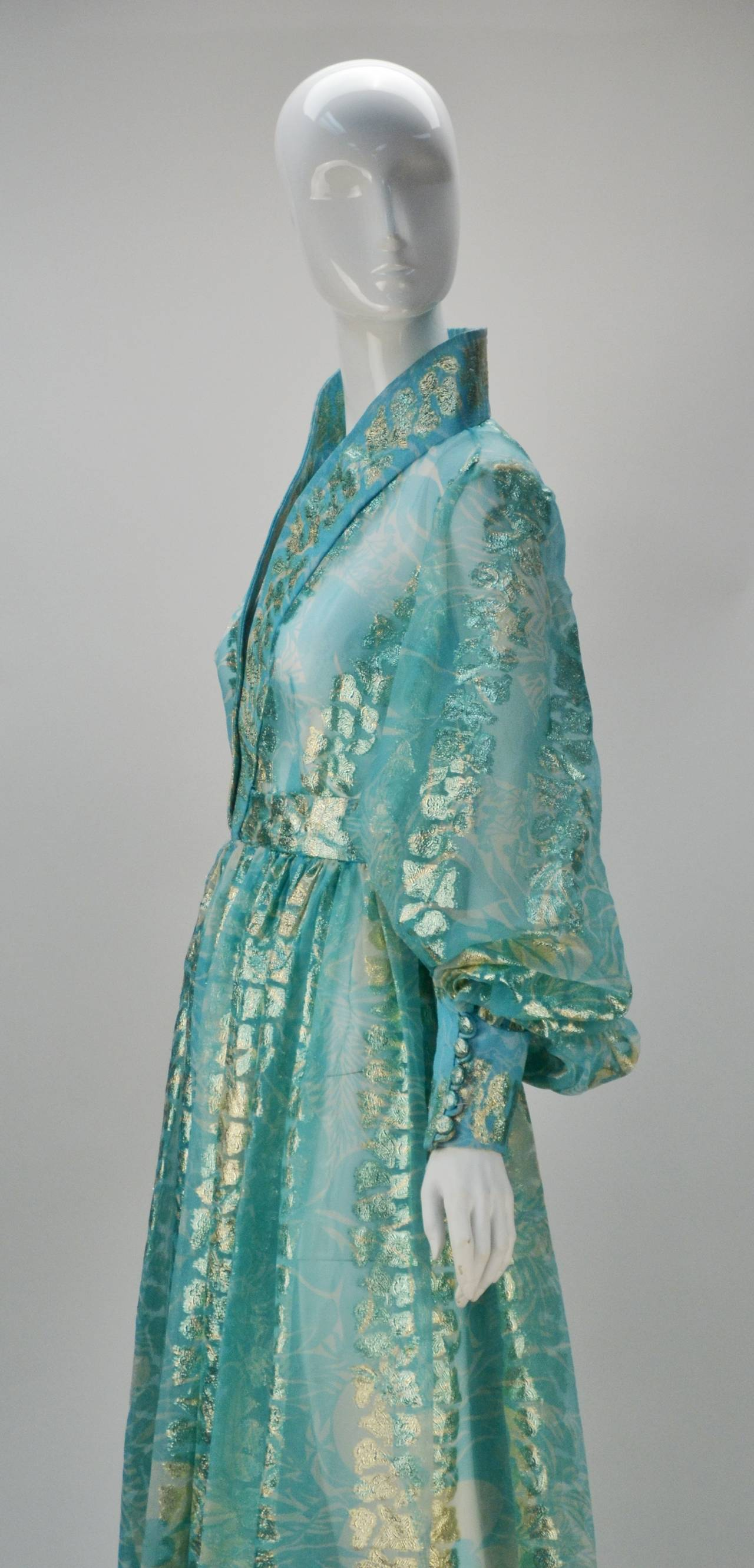 1970s Sheer Light Blue and Gold Metallic Hostess Gown 4