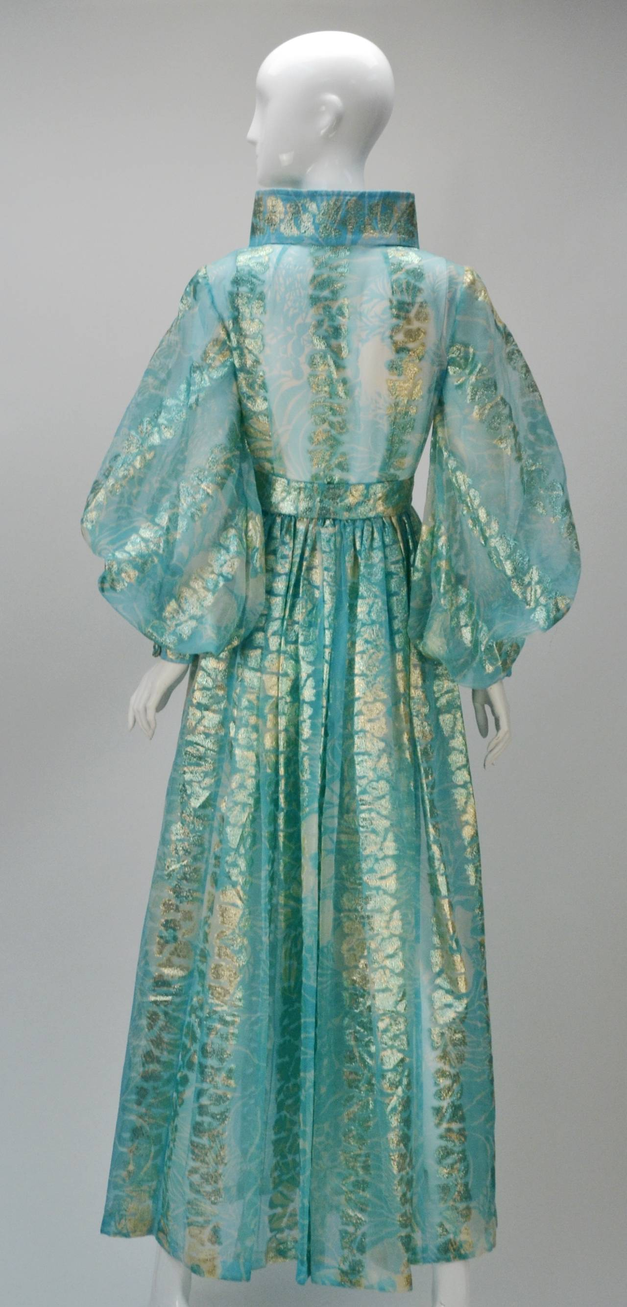 1970s Sheer Light Blue and Gold Metallic Hostess Gown 3