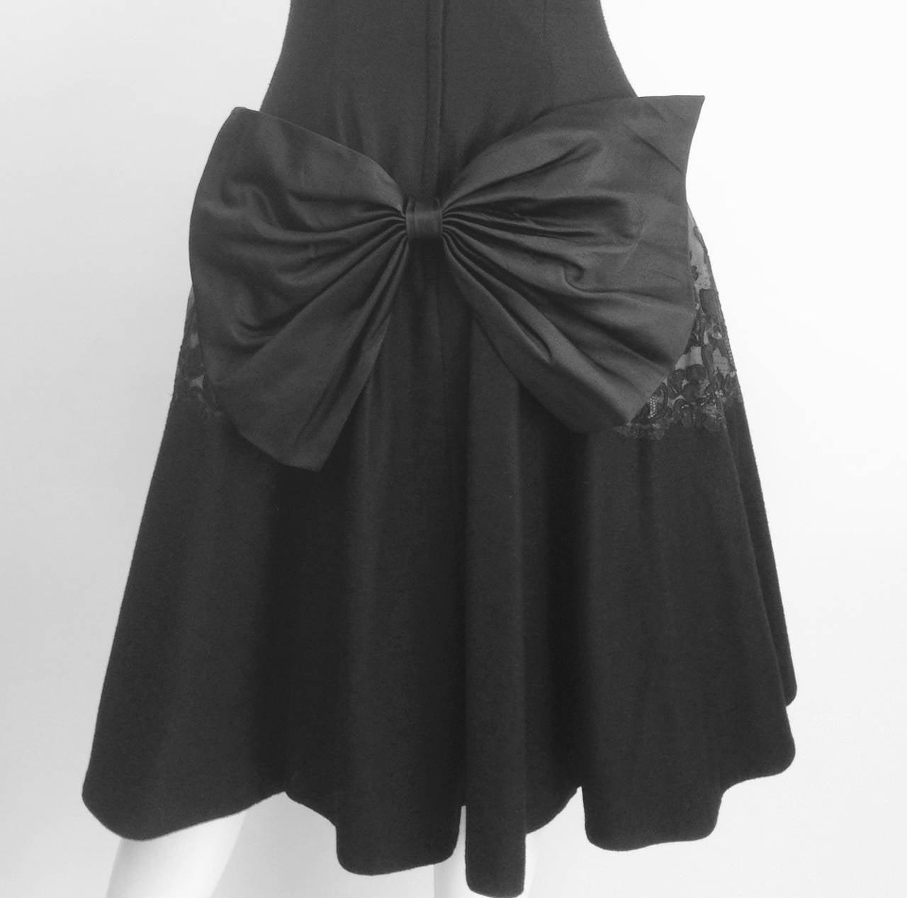 Women's 1950s Mr. Blackwell Black Wool Dress For Sale