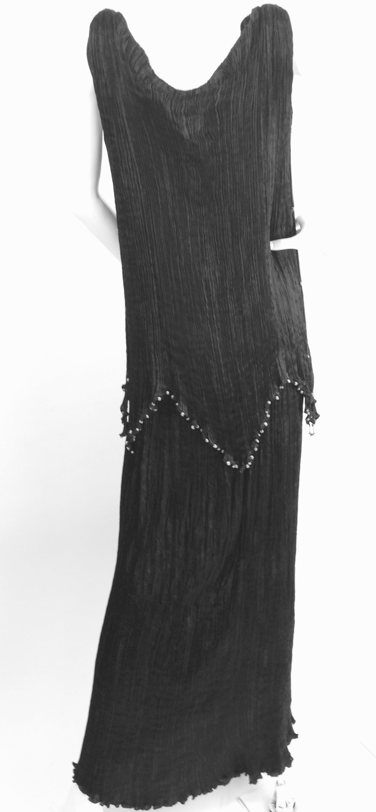 Mariano Fortuny Midnight Black Silk Peplos In Good Condition For Sale In Houston, TX