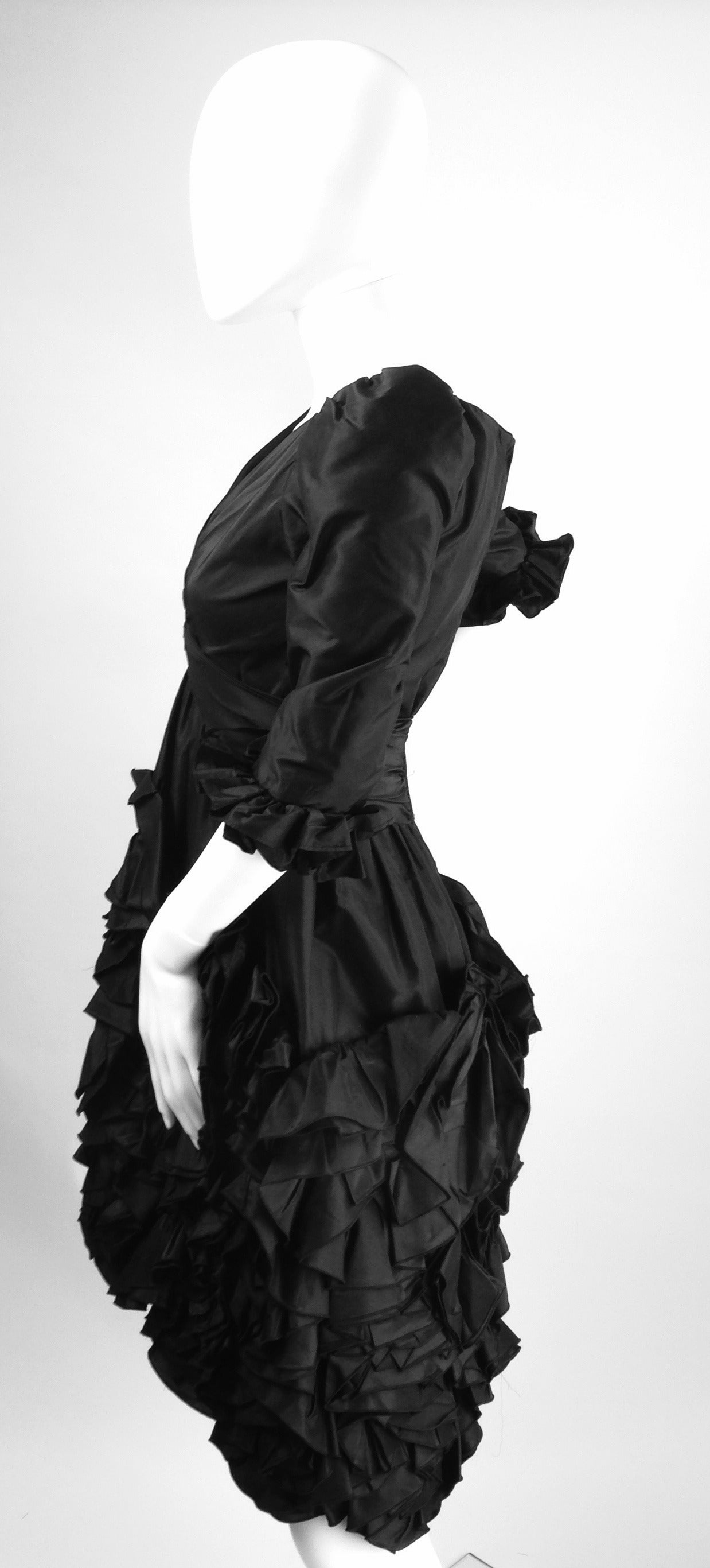 Gray 1990s Oscar De La Renta Black Ruffle Dress For Sale