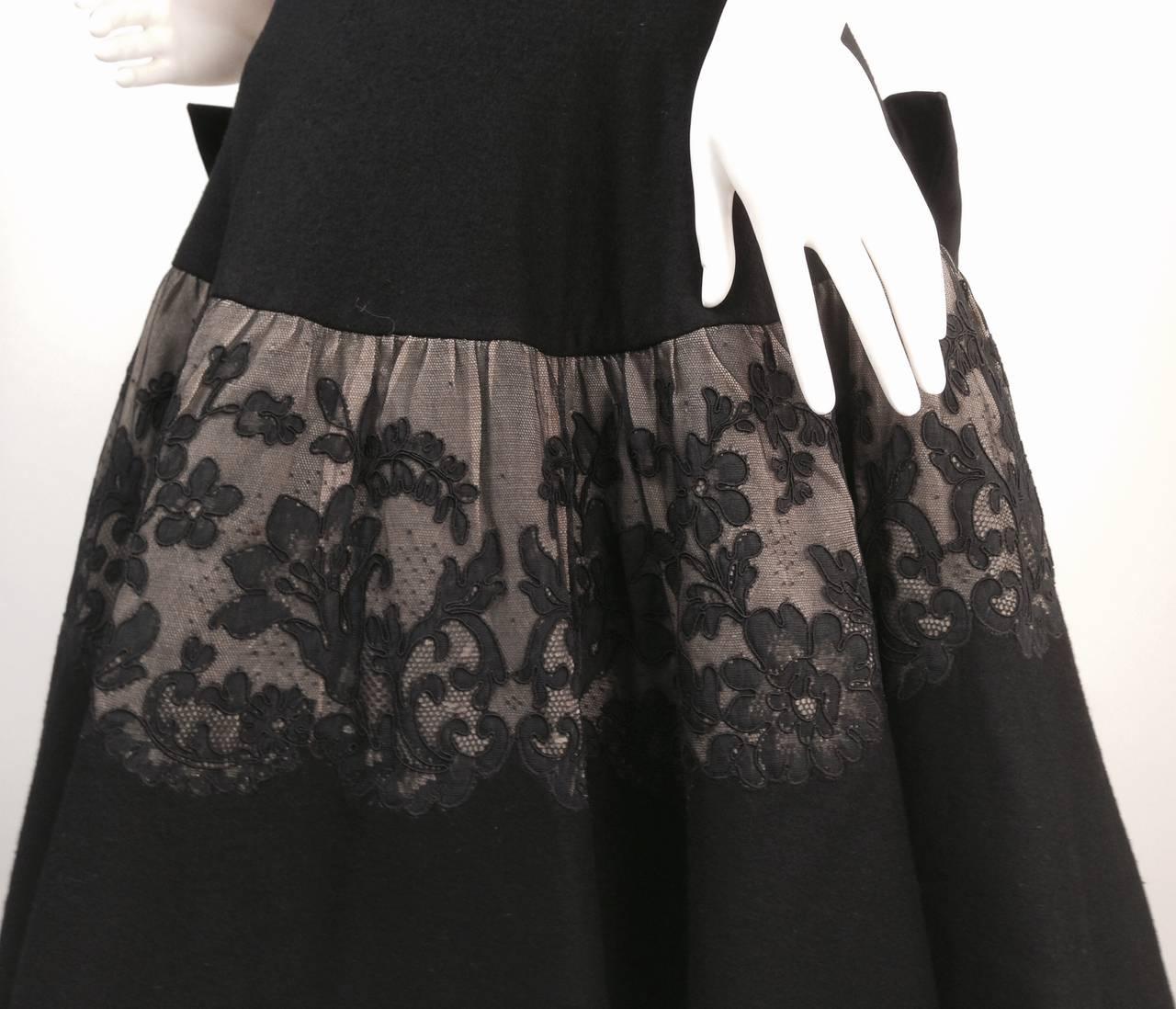 Gray 1950s Mr. Blackwell Black Wool Dress For Sale