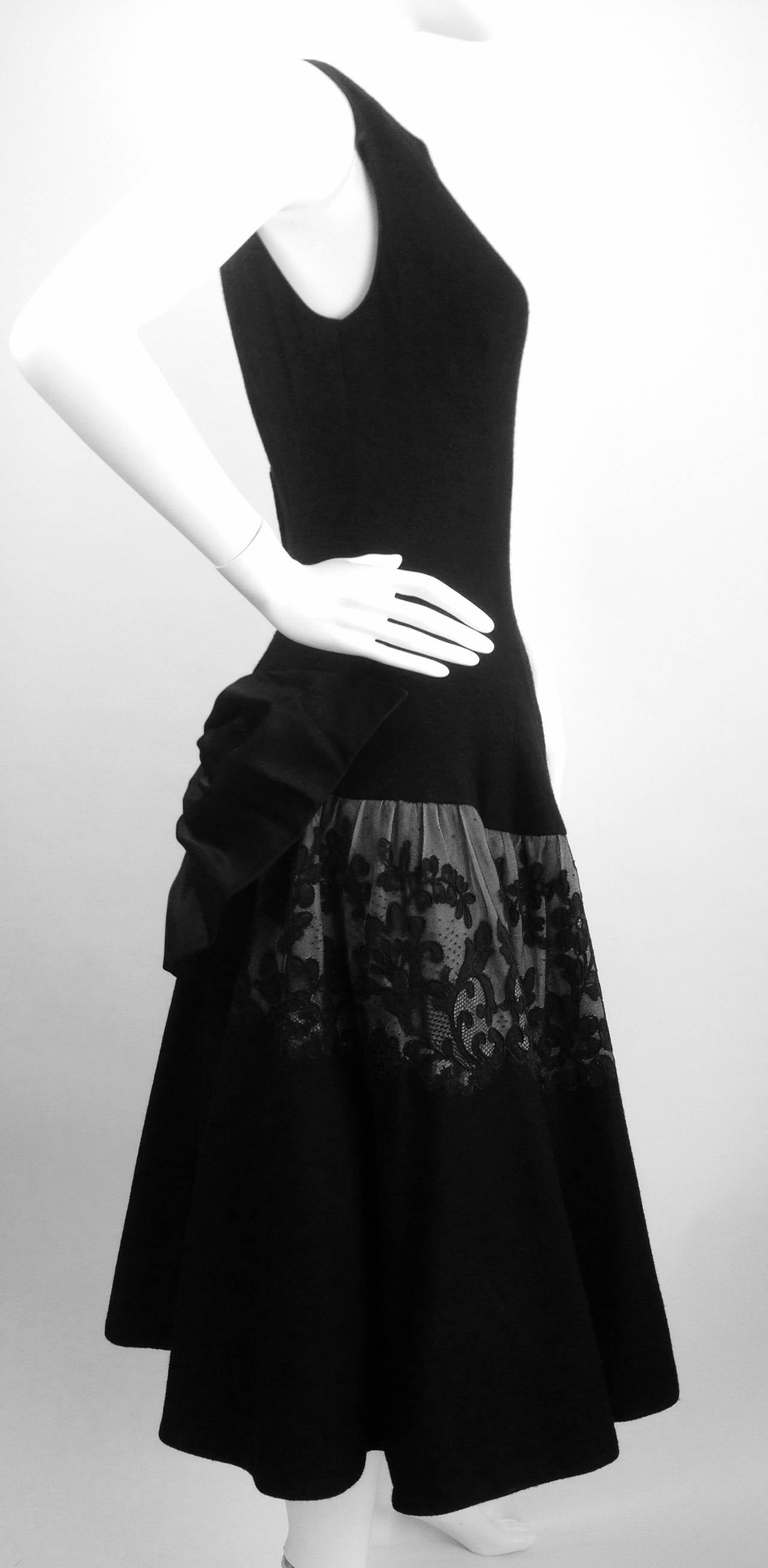 1950s Mr. Blackwell Black Wool Dress In Excellent Condition For Sale In Houston, TX