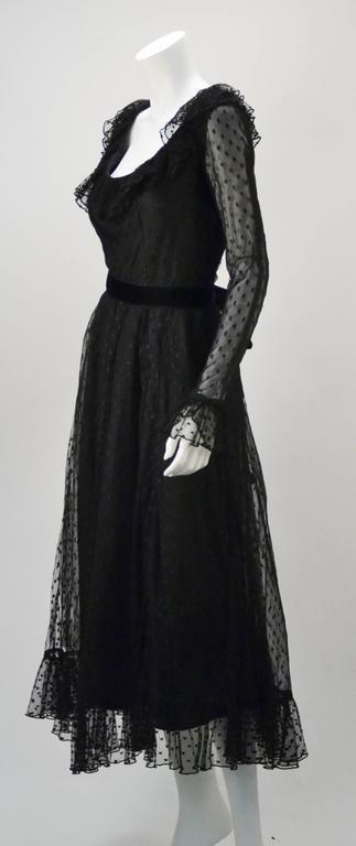 1970s Victor Costa LTD Black Lace Polka Dot Evening Dress  2