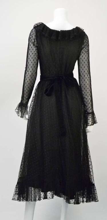 1970s Victor Costa LTD Black Lace Polka Dot Evening Dress  3