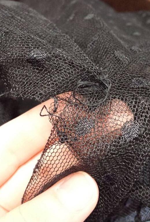 1970s Victor Costa LTD Black Lace Polka Dot Evening Dress  5