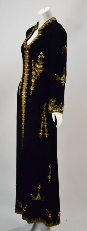 VIntage Black Velvet Hand Beaded Embroidered Caftan/Maxi Gown 3