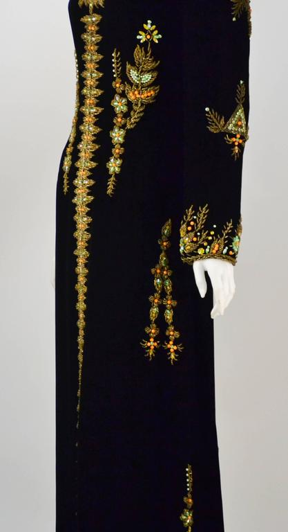 VIntage Black Velvet Hand Beaded Embroidered Caftan/Maxi Gown 4