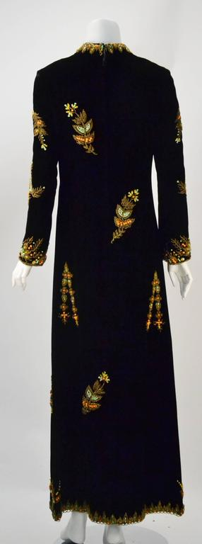 VIntage Black Velvet Hand Beaded Embroidered Caftan/Maxi Gown 2