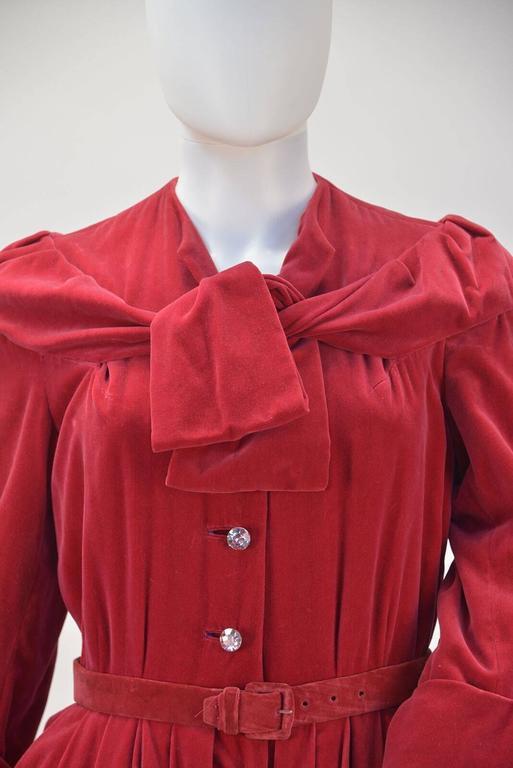 Women's 1950s YSL for Christian Dior Red Velvet Button Front Dress  For Sale