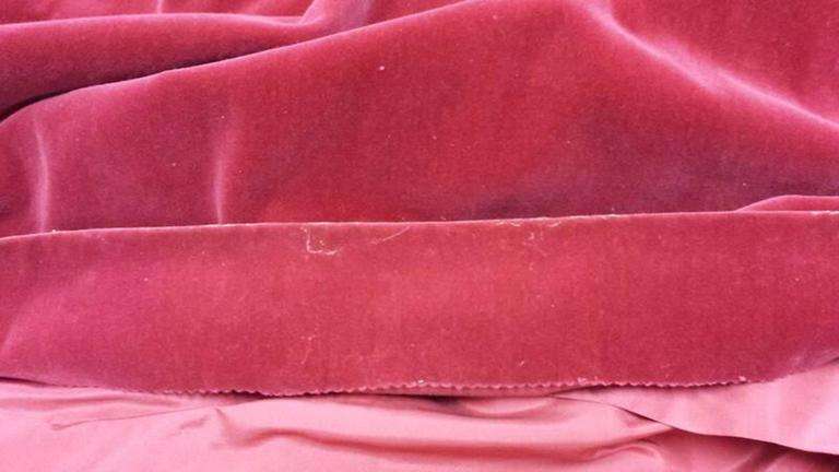 1950s YSL for Christian Dior Red Velvet Button Front Dress  For Sale 3