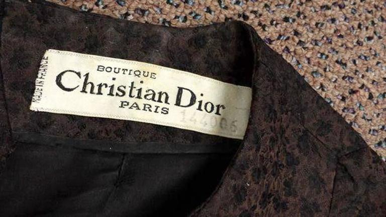 1950s Christian Dior Paris Numbered Brown and Black Dress 2