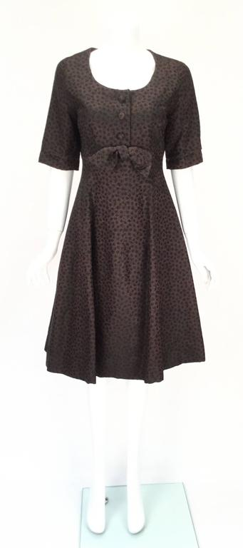 1950s Christian Dior Paris Numbered Brown and Black Dress 3