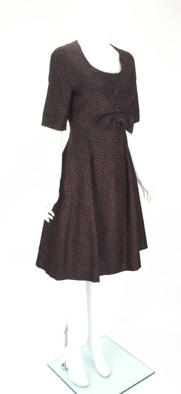 1950s Christian Dior Paris Numbered Brown and Black Dress 4