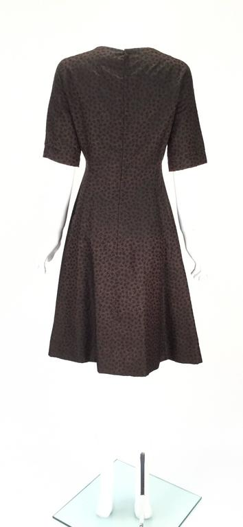 1950s Christian Dior Paris Numbered Brown and Black Dress 5