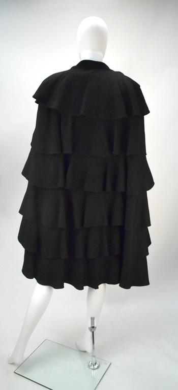 1940s Gilbert Adrian Black Tiered Ruffle Cape  In Excellent Condition For Sale In Houston, TX