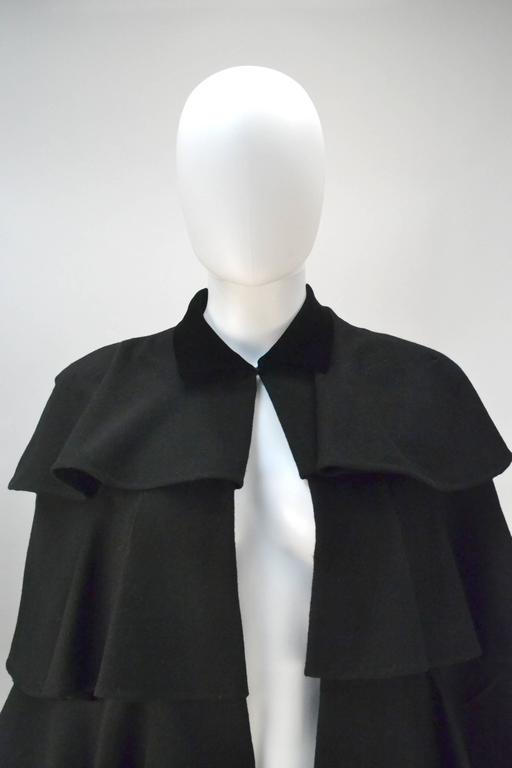 Women's 1940s Gilbert Adrian Black Tiered Ruffle Cape  For Sale