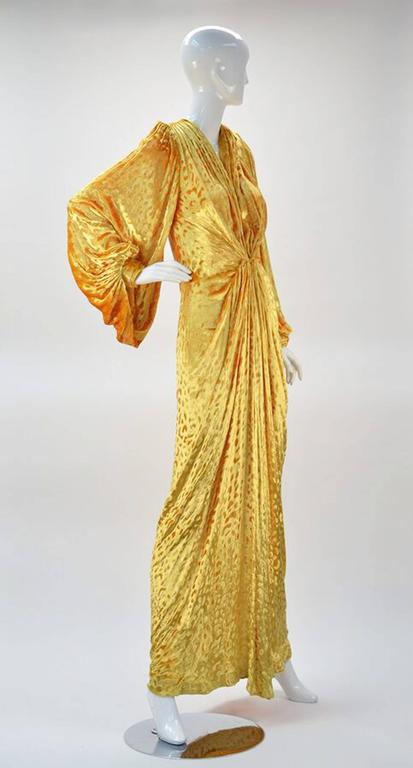 Brown 1980s Renato Balestra Attr. Goldenrod Ruched Velvet Gown For Sale
