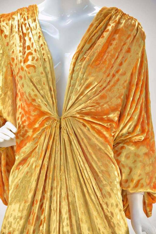 1980s Renato Balestra Attr. Goldenrod Ruched Velvet Gown In Good Condition For Sale In Houston, TX