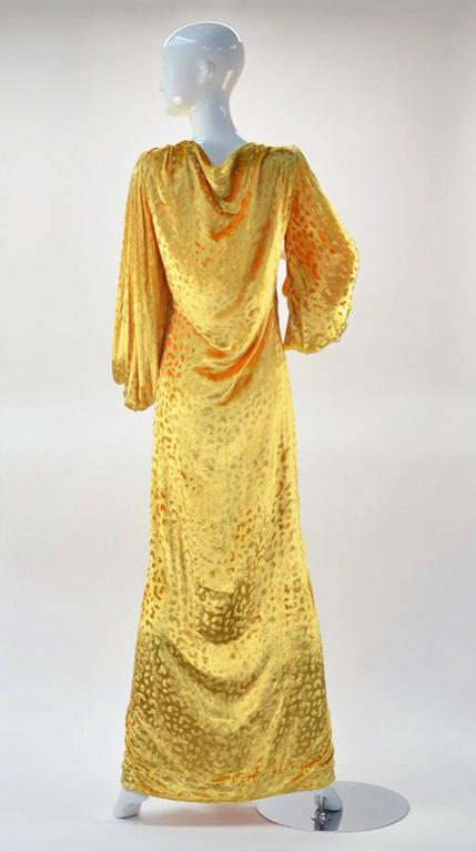 Women's 1980s Renato Balestra Attr. Goldenrod Ruched Velvet Gown For Sale