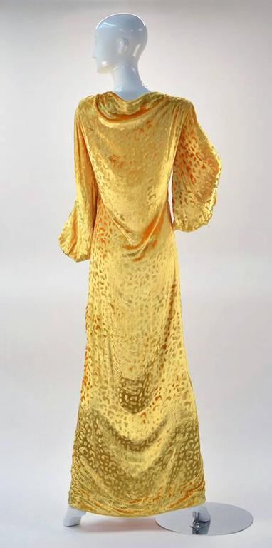 1980s Renato Balestra Attr. Goldenrod Ruched Velvet Gown For Sale 1