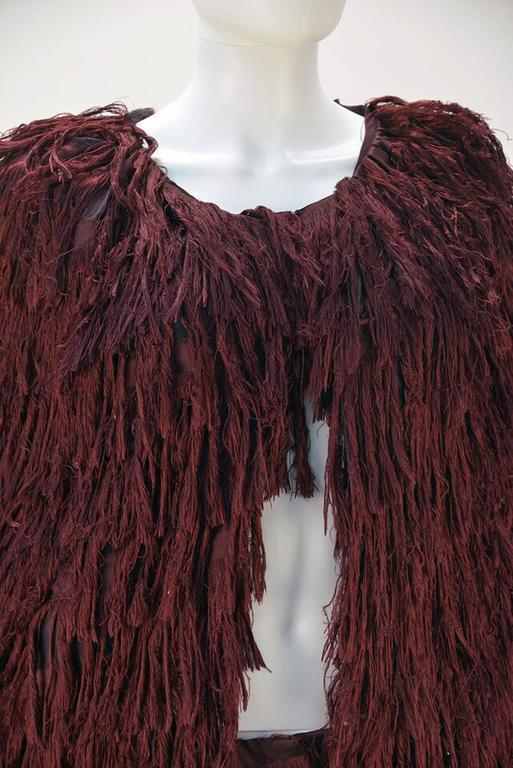 Mila Schon Burgundy Silk Fringe Cape with Matching Fringe Pants 1