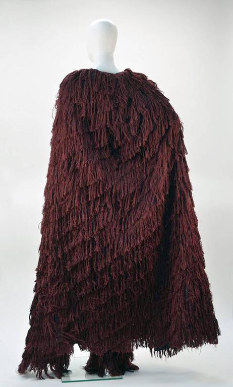 Women's Mila Schon Burgundy Silk Fringe Cape with Matching Fringe Pants