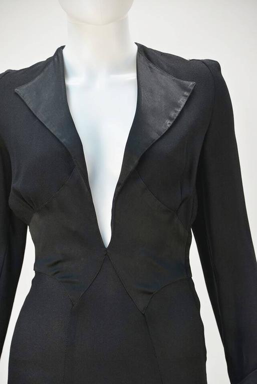 Women's Ossie Clark for Radley Black Moss Crepe Plunge Dress, 1970s   For Sale