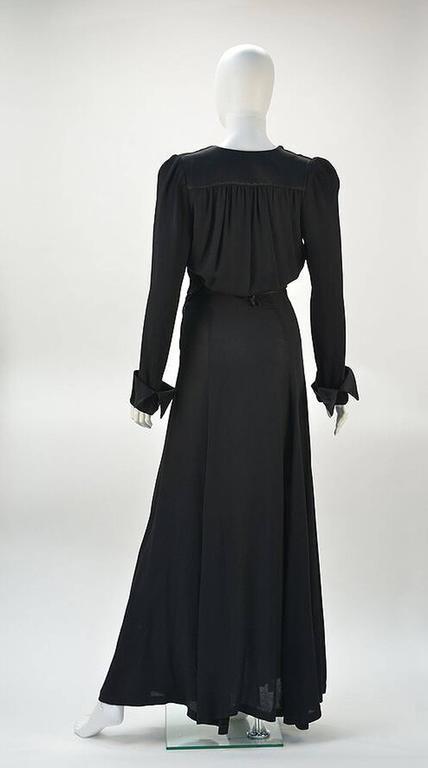 1970s Ossie Clark for Radley Black Moss Crepe Plunge Dress  3