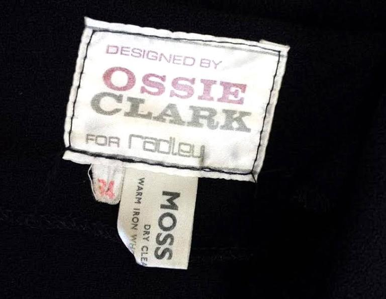 1970s Ossie Clark for Radley Black Moss High Collar Crepe Dress 7