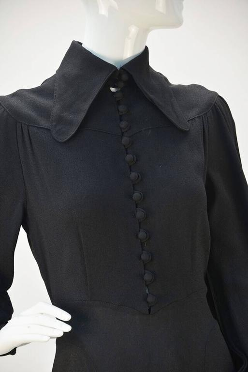 1970s Ossie Clark for Radley Black Moss High Collar Crepe Dress 3