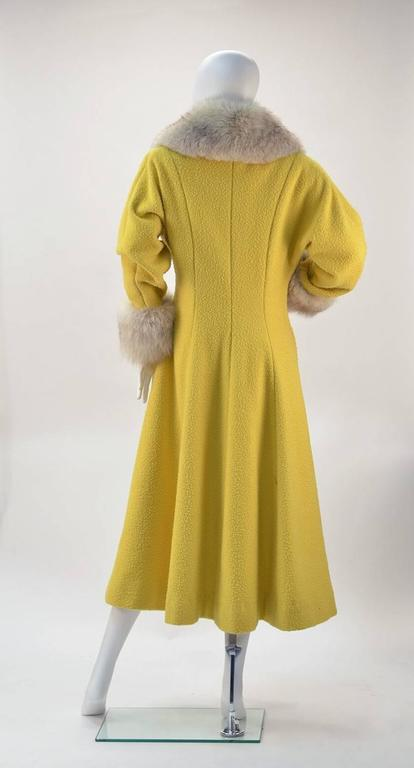 Brown Custom Canary Yellow Boucle Wool Coat with Grey Fox Fur Collar and Cuffs For Sale