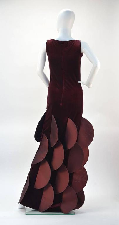 1990s Pierre Cardin Evolution Burgundy Stretch Velvet Evening Gown 3