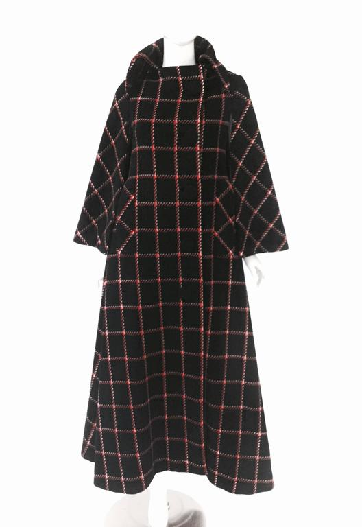 1970s Pauline Trigere Black and Red Plaid Wool Cape and Skirt  2