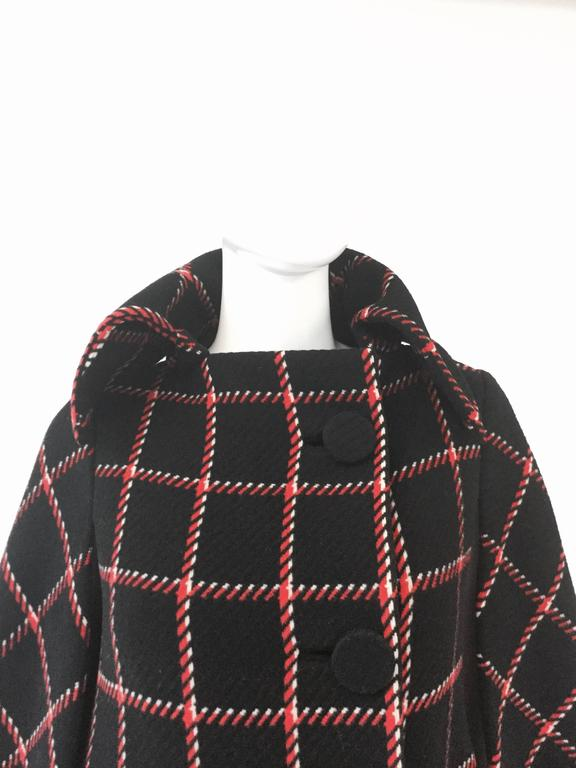 1970s Pauline Trigere Black and Red Plaid Wool Cape and Skirt  3