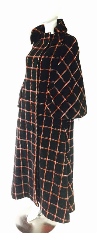1970s Pauline Trigere Black and Red Plaid Wool Cape and Skirt  4