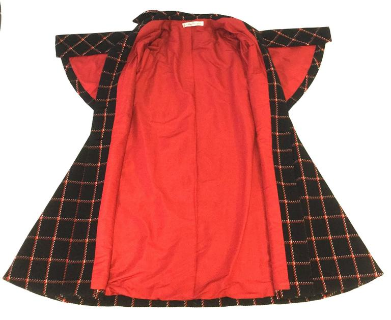 1970s Pauline Trigere Black and Red Plaid Wool Cape and Skirt  10