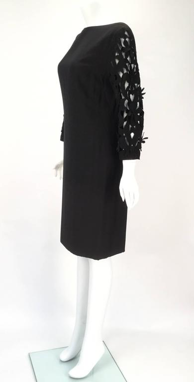 Women's 1970s Renato Balestra  Black  Dress with Floral Cutout Sleeves For Sale