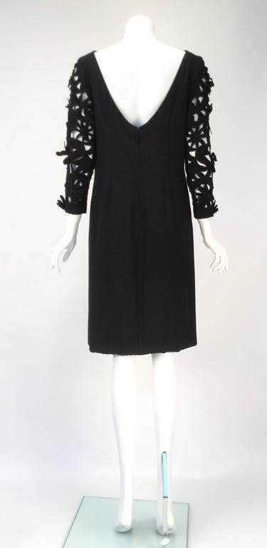 1970s Renato Balestra  Black  Dress with Floral Cutout Sleeves For Sale 1