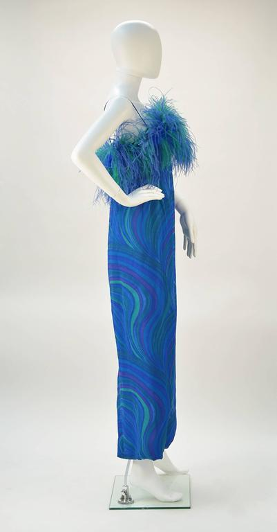 1960s Blue And Green Sheer Formal Dress With Ostrich