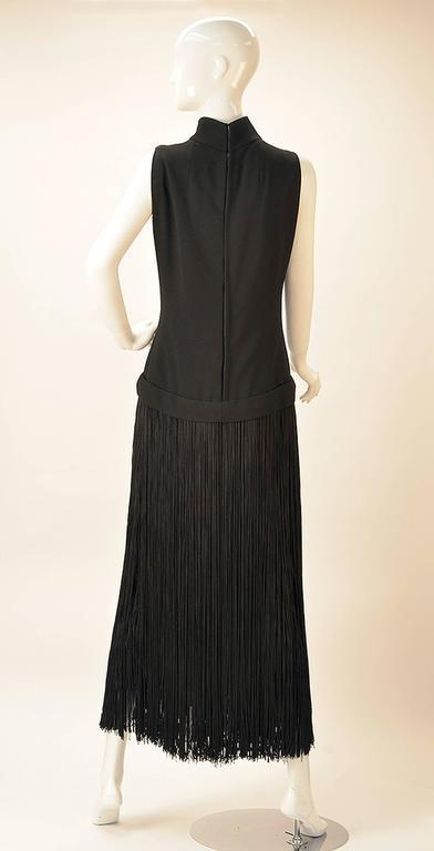 1960s Adele Simpson Black Crepe Fringe Dress In Good Condition For Sale In Houston, TX