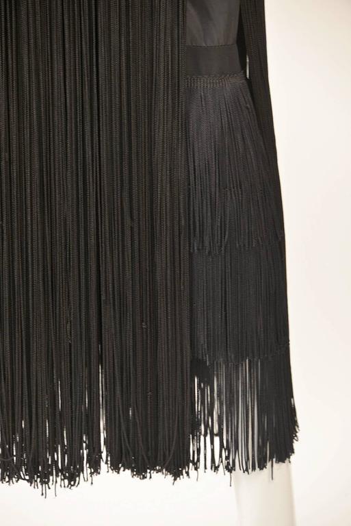 Women's 1960s Adele Simpson Black Crepe Fringe Dress For Sale