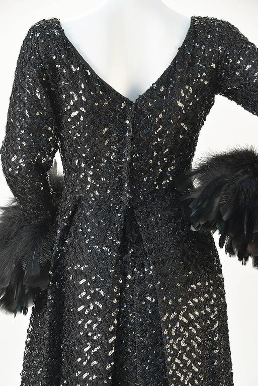 1960s Lillie Rubin Black Sequin Evening Gown with Feather Cuffs In Good Condition For Sale In Houston, TX