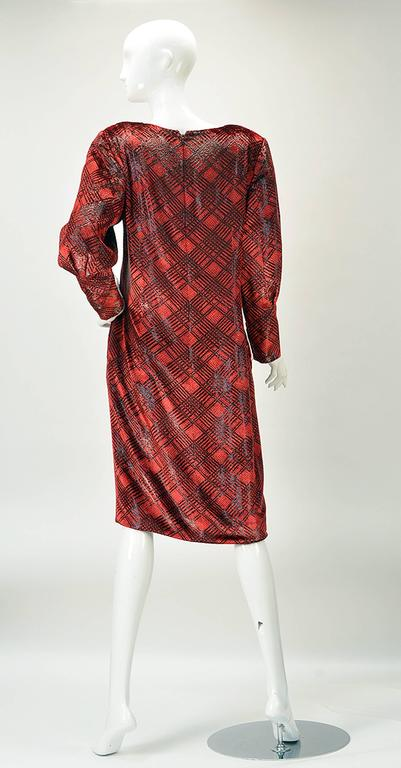 Brown 1980s Galanos Red Velvet Plaid Print Dress For Sale