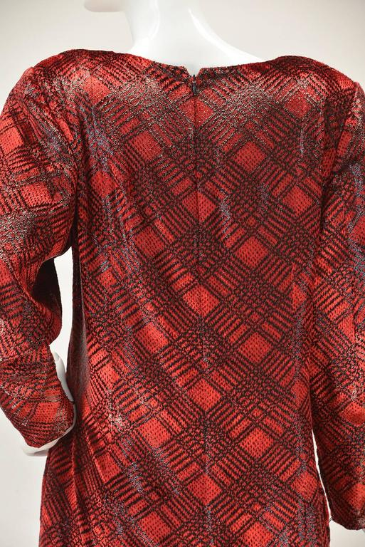 1980s Galanos Red Velvet Plaid Print Dress In Good Condition For Sale In Houston, TX